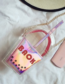 Fashion Pink+red Color Matching Decorated Cup Shape Transparent Shoulder Bag