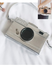 Fashion Silver Color Camera Shape Decorated Color Matching Shoulder Bag