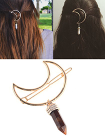 Sexy Coffee Rhombus Shape Pendant Decorated Simple Hair Pin