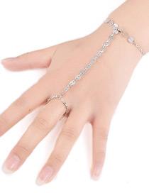 Fashion Silver Color Paillette Decorated Pure Color Simple Bracelet
