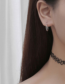 Fashion Silver Color Circular Ring Decorated Pure Color Simple Earrings (1pc)