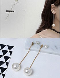 Fashion Gold Color Pearls Decorated Long Tassel Design Earrings