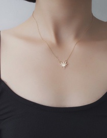 Fashion Gold Color Maple Leaf Decorated Pure Color Simple Choker