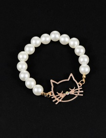Fashion Milk White Pearl Decorated Cat Shape Pure Color Bracelet
