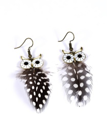 Fashion Gray Feather Decorated Owl Shape Color Mathicng Earrings
