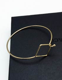 Elegant Gold Color Square Shape Decorated Pure Color Simple Bracelet
