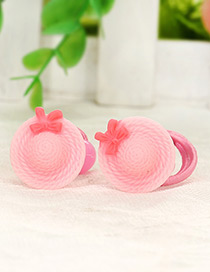 Cute Pink Hat Shape Decorated Simple Baby Hair Band(1pair)