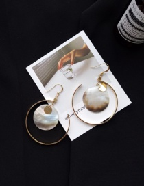 Fashion Gold Color Paillette&circular Ring Decorated Pure Color Simple Earrings