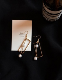 Fashion White+gold Color Square Shape&pears Decorated Tassel Design Simple Earrings
