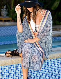 Fashion Blue Flower Pattern Decorated Cardigan Design Bikini Cover Up Smock