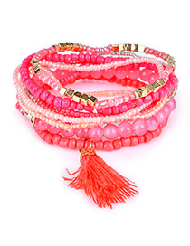 Trendy Plum Red Bead Decorated Tassel Design Pure Color Simple Bracelet