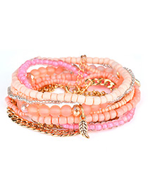 Fashion Orange Leaf&bead Decorated Multi-layer Design Simple Bracelet