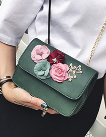 Fashion Green Flower Decorated Color Matching Simple Design Shoulder Bag