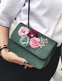 Fashion Green Flower Decorated Color Matching Simple Design Shoulder Bag