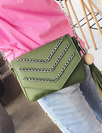 Fashion Green Chain Decorated Pure Color Simple Design Shoulder Bag