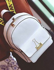 Fashion White Clip Shape Decorated Pure Color Simple Design Backpack