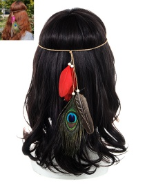 Fashion Red Feather Decorated Color Matching Simple Headband