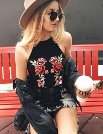 Fashion Black Embroidery Flower Decorated Simple Sling Vest
