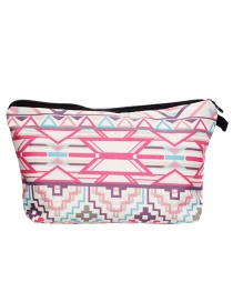 Fashion Plum Red +white Printing Geometry Pattern Color Matching Storage Bag