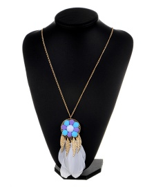 Fashion White Leaf&feather Decorated Color Matching Simple Pom Necklace