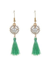 Bohemia Green Round Shape Decorated Simple Tassel Design Earrings