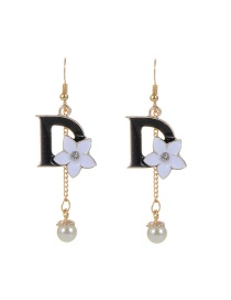 Fashion Black Letter D &flower Shape Decorated Simple Earrings