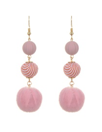 Lovely Pink Fuzzy Ball Decorated Simple Long Chain Earrings