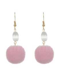 Lovely Pink Fuzzy Ball Decorated Simple Pure Color Earrings