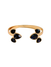 Fashion Gold Color Oval Shape Diamond Decorated Simple Opening Bracelet