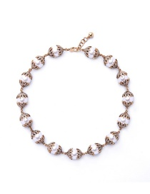 Vintage Gold Color Round Shape Decorated Simple Short Chain Necklace