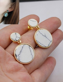 Fashion White Round Shape Decorated Color Matching Simple Earrings