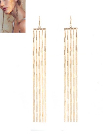 Fashion Gold Color Tassel Decorated Chain Design Pure Color Earrings
