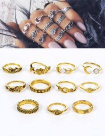 Fashion Gold Color Flower Shape Decorated Pure Color Simple Ring (11 Pieces)