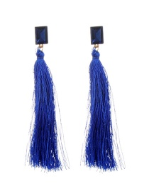 Fashion Sapphire Blue Tassel&diamond Decorated Pure Color Simple Earrings