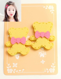Lovely Yellow Little Bear Shape Decorated Simple Children Hairpin (1pair )