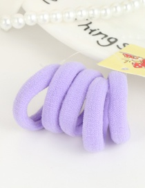 Cute Light Purple Pure Color Decorated Simple Round Shape Hair Band (5pcs)