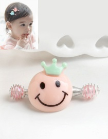 Cute Pink Smiling Face Decorated Simple Baby Hairpin