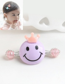 Cute Purple Smiling Face Decorated Simple Baby Hairpin