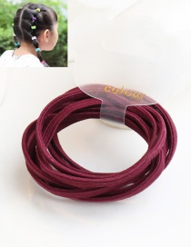 Cute Claret-red Pure Color Decorated Simple Round Hair Band (10pcs)