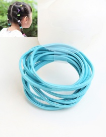Cute Blue Pure Color Decorated Simple Round Hair Band (10pcs)