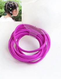 Cute Dark Plum-red Pure Color Decorated Simple Round Hair Band (10pcs)