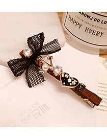 Fashion Coffee Diamond Decorated Bowknot Shape Simple Hairpin