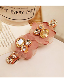 Fashion Pink Diamond Decorated Flower Shape Pure Color Simple Hairpin