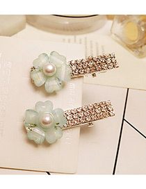 Trendy Green Diamond Decorated Flower Shape Pure Color Simple Hairpin