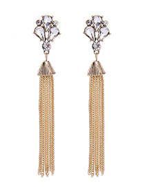 Vintage Gold Color Long Tassel Decorated Simple Earrings