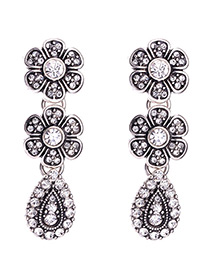 Vintage Silver Color Flower Shape Decorated Simple Earrings