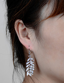 Fashion Silver Color Leaf Shape Decorated Simple Earrings