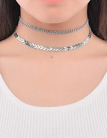 Vintage Silver Color Metal Leaf Decorated Double Layer Choker