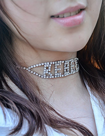 Vintage Silver Color Hollow Out Letter Decorated Choker