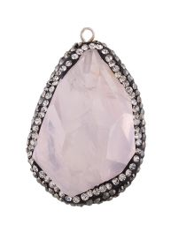 Personality Pink Stone Shape Decorated Simple Irregularity Pendant